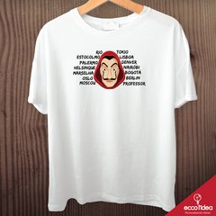 Camiseta branca - LA CASA DE PAPEL - PERSONAGENS
