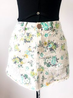 Mini Saia Jeans Off white Floral Destroyed Bobstore