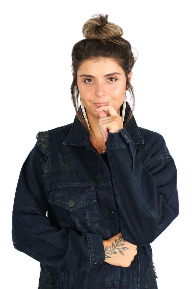 Jaqueta Jeans Oversized Destroyed