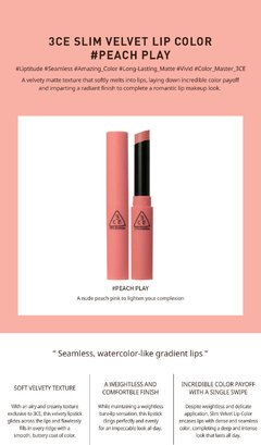 3CE - SLIM VELVET LIP COLOR #PEACH PLAY - tienda online