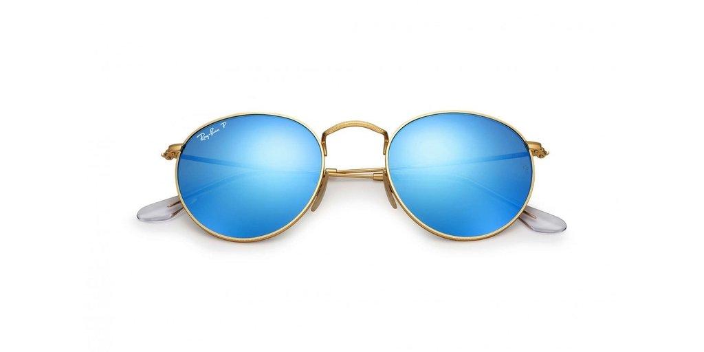 683bc7e12 Ray Ban Round Metal 3447 dorado/azul espejado polarizado Originales  Italianos. Garantía