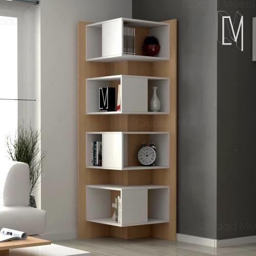 Biblioteca esquinera moderna estanteria ciudad muebles for Muebles esquineros de madera