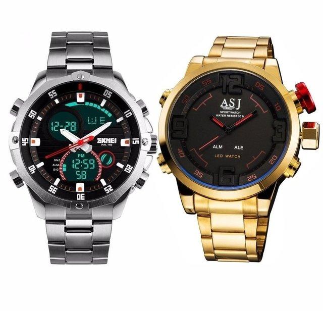 986ea1c7916 Kit  Relógio ASJ Gold + Relógio Skmei Army