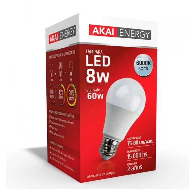 Lámpara Bulbo LED 8w 6000K