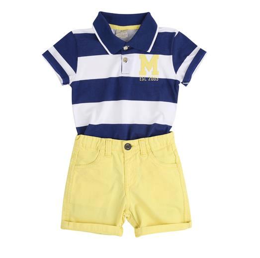 caf1af3632 Conjunto Infantil Menino Camisa Polo + Bermuda