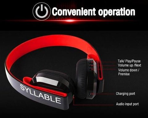 Fone de Ouvido Syllable G600 Bluetooth 4.0 Hifi Wireless 3,5mm