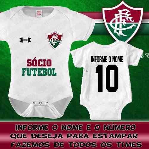 b0c17e67a0cc3 Body Bebê Fluminense Personalizado Com O Nome Time Futebol