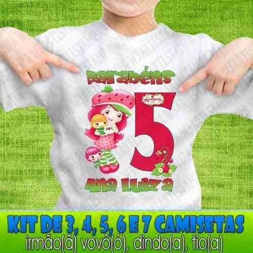 5 Camisetas Kit Aniversário Moranguinho Blusa Camisa Festa 299f9888912