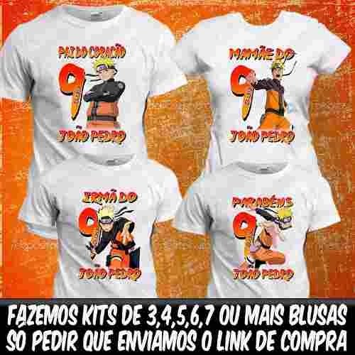 4 Camisa Naruto Camisetas Personalizadas Aniversário Blusa 88583267249