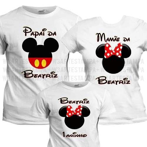 Mickey E Minnie 3 Camisetas Kit Aniversário Infantil Familia 1b76edc780f8a