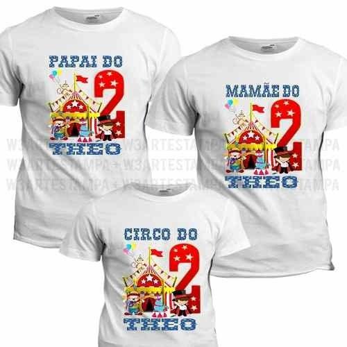 3 Camisas Tema Circo Blusa Aniversário Camiseta Personaliza 41bade1b30b