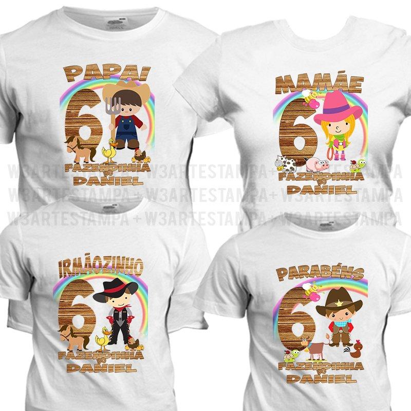 3 Camisetas personalizadas Fazendinha e Fazendinha Rosa 174c83a5b72