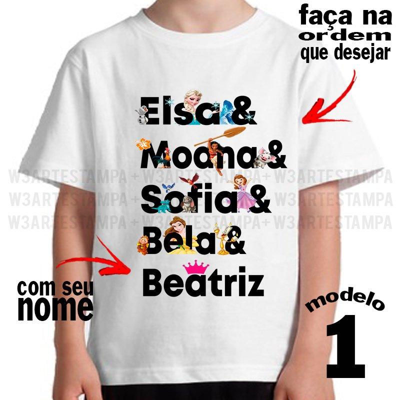 1 Camiseta Frase Palavras Princesas Anna Moana Cinderela Frozen Elsa
