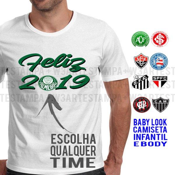 Camiseta Ano Novo Time de futebol Flamengo Palmeiras d65e4b847dafb