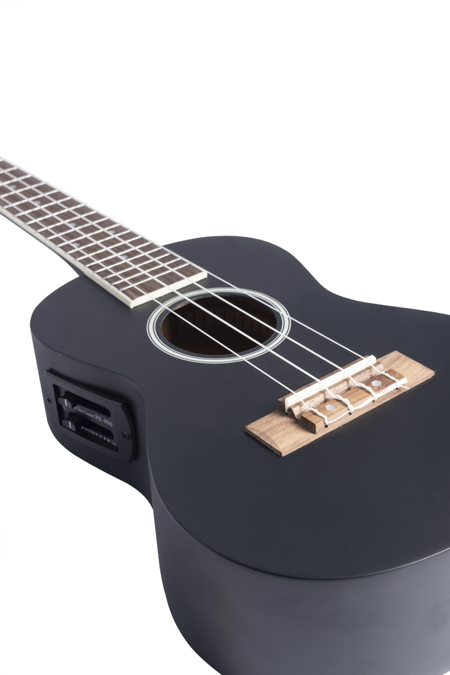 Black Linden wood Concert Ukulele w/eq (Includes Gig bag)
