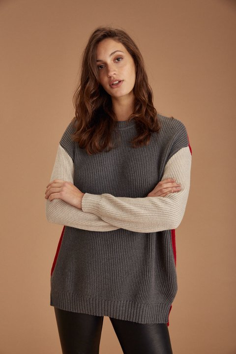 SWEATER POP GRIS TOPO