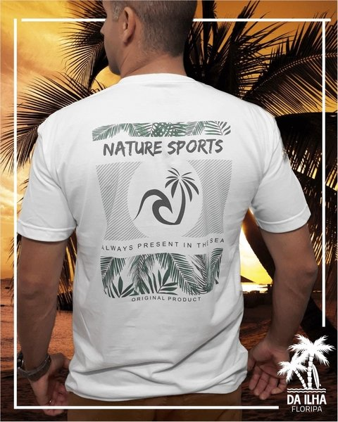 Camiseta Nature Sports Da Ilha Floripa Estampa Costas Branca