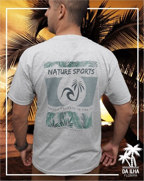 Camiseta Nature Sports Da Ilha Floripa Estampa Costas Cinza Mescla