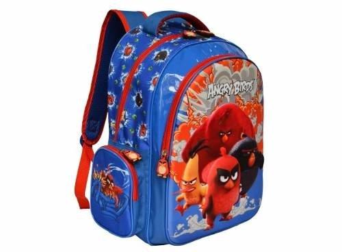 375e43c86 Mochila De Costa Escolar Angry Birds Dsenho 3d Menino Azul