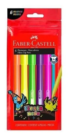 Marcadores Fiesta 45 Neon Faber Castell X6 Colores