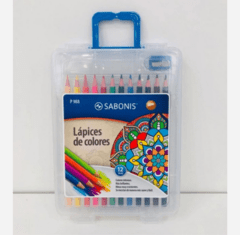 Lapices de Colores x 12 Sabonis Maletin