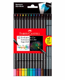 NUEVO!! LAPICES DE COLORES FABER CASTELL SUPERSOFT X12 + 2 ECOLAPICES DE GRAFITO
