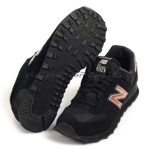 0edf015cc20 Tenis Zapatillas New Balance 574 Negra Dorada Mujer