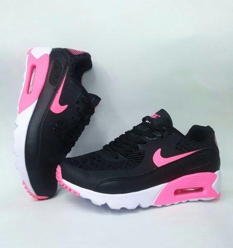 fdab57689814b Tenis Zapatillas Nike Air Max 90 Negra Fucsia Mujer