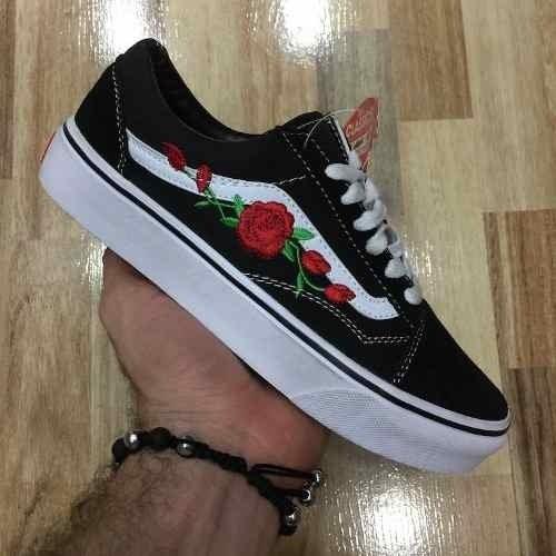 463e9943bf263 Tenis Zapatillas Vans Old Skool Negra Flores Mujer Envio Gra