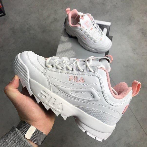 557ad33572b8c Tenis Zapatillas Fila Disruptor Low Blanca Rosada Mujer