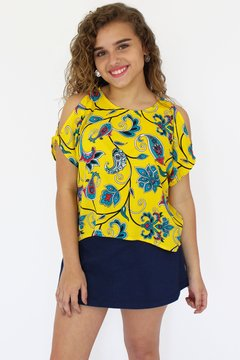 Blusa open shoulder estampada