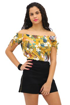 Cropped ciganinha floral