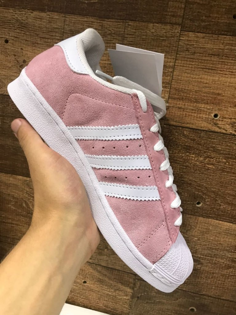 Adidas Superstar Rosa Camurça - Mozarts Fitch Outlet 826f4c281f39b