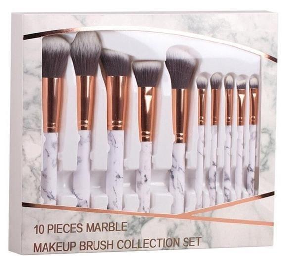 9ed8a835f7531 Set 10 Brochas Kabuki Brochas De Ojos Diseño Mármol