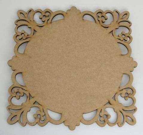 Sousplat Quadrado Arabesco Flor 38cm MDF 6mm
