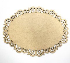 Placa Oval Arabesco Aberto 23x30cm MDF 3mm