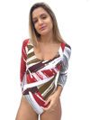 Swimsuit  Sleeve 3/4  Geometric Red and Green