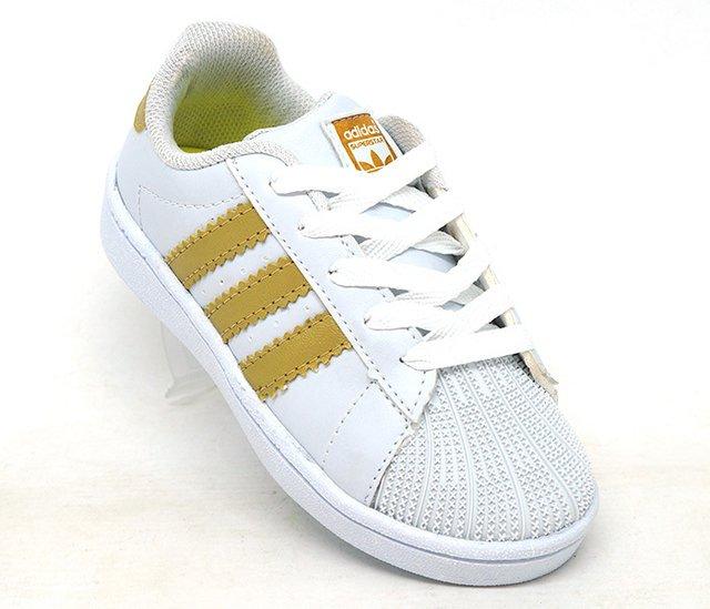 e1a1e2a9394 Tênis Infantil Adidas Superstar Branco e Dourado