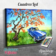 Cuadro Led Arte - Ford Mustang Campo (386)
