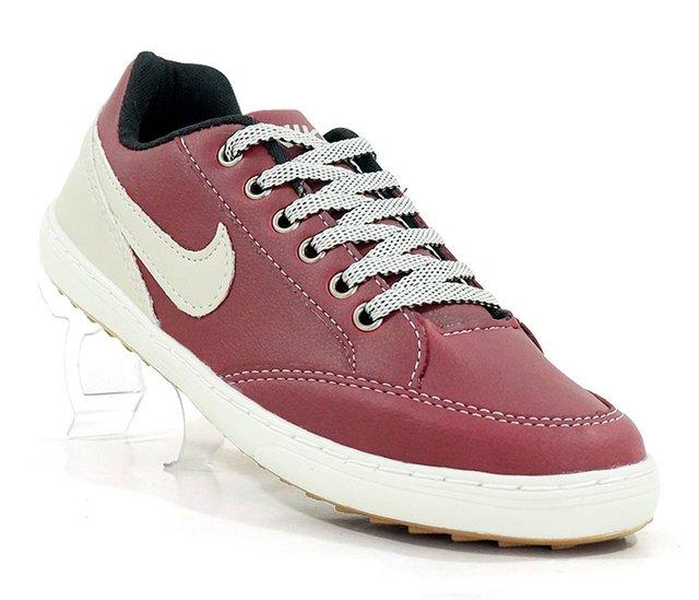 7f765278394 Sapatênis Nike Court Vinho e Bege - CalvestemiX
