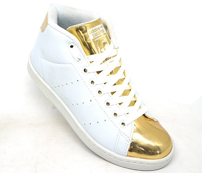 ce130b11762 Tênis Adidas Stan Smith Cano Alto Branco e Dourado