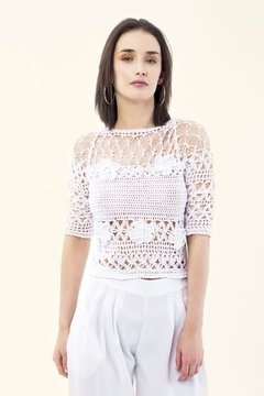 TOP CROCHET DE ALGODÓN BLANCO