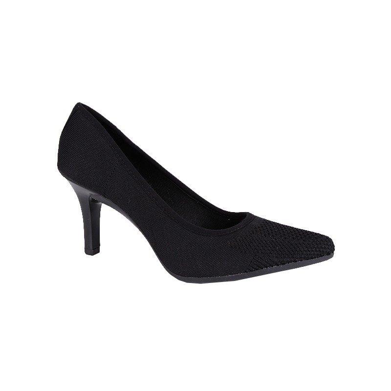 5742c8e5f Sapato Scarpin Feminino Mississipi Tecido Salto8 Preto X7531