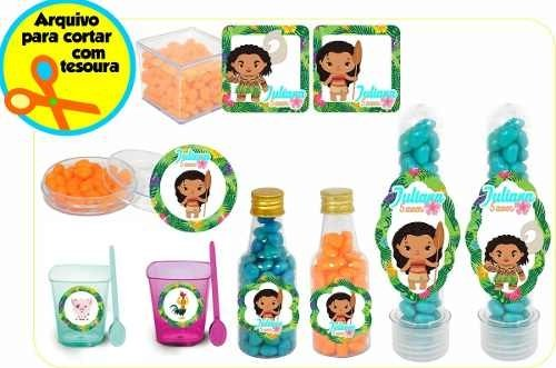 Kit Digital De Rótulos Personalizados Moana Cute