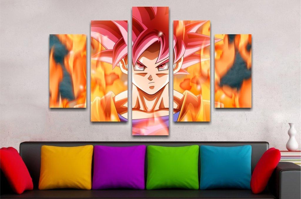 Cuadro Poliptico Goku Dios 110x70cm