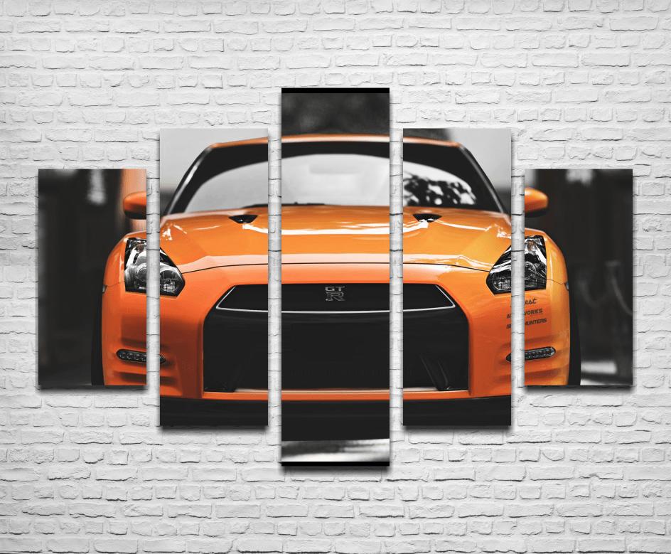 Cuadro Poliptico Nissan GTR Naranja