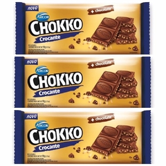 KIT C/3 UN CHOCOLATE COM CEREAL CROCANTE CHOKKO ARCOR 90g