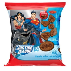 BISCOITO SABOR CHOCOLATE JUSTICE LEAGUE SANTA EDWIGES 100g