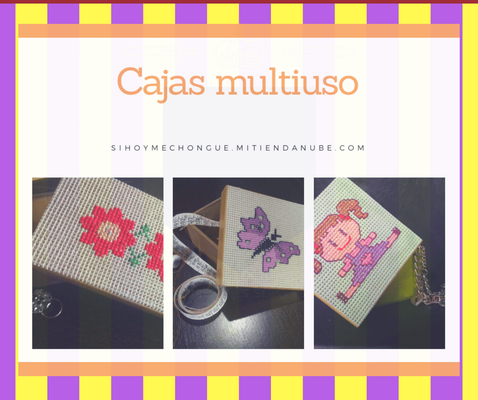 Caja multiuso tapa decorada con bordado  en punto cruz