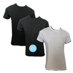 ART 11454  REMERA DOBLE CUELLO COMBINADA ESC O. PACK X12